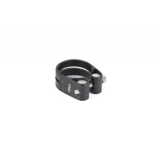 3K Carbon Fiber Bike Saddle Seatpost Clamp Collar in 31.8 mm or 34.9 mm