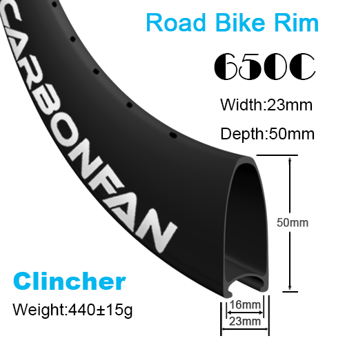Depth:50mm Width:23mm Clincher 650C  carbon road rim