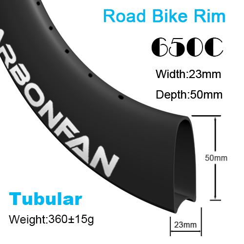 Depth:50mm Width:23mm Tubular 650C carbon road rim