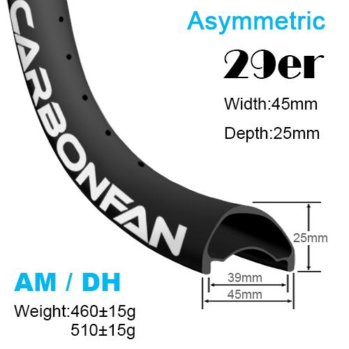 Width:45mm Depth:25mm 29er Asymmetric carbon MTB rims AM / DH