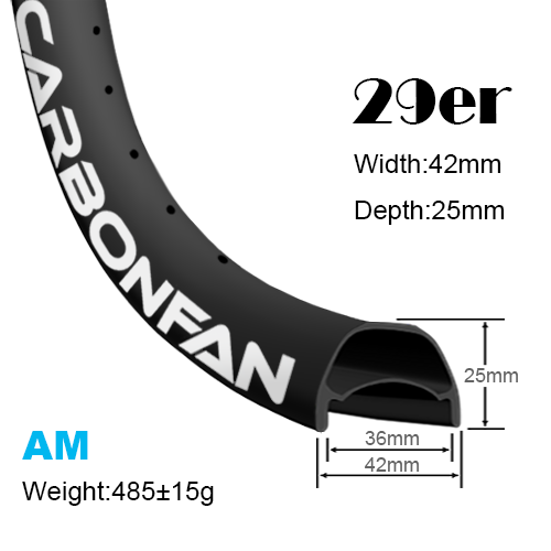 Width:42mm Depth:25mm 29er carbon mountain bike rims classic All mountain