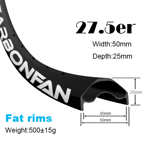 Fat carbon rims YH mountain bike rims 27.5er (width:50mm,depth:25mm)