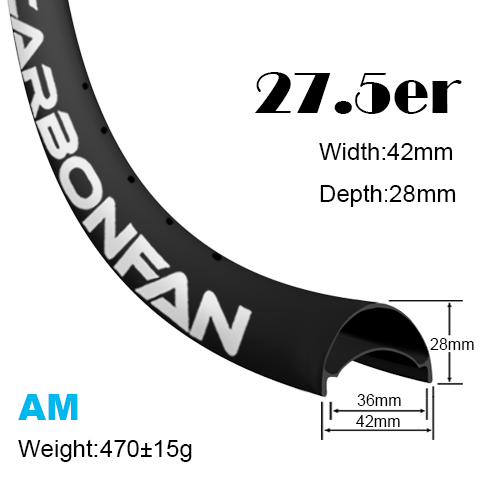 Width:42mm Depth:28mm 27.5er hookless carbon mountain bike rim 650B