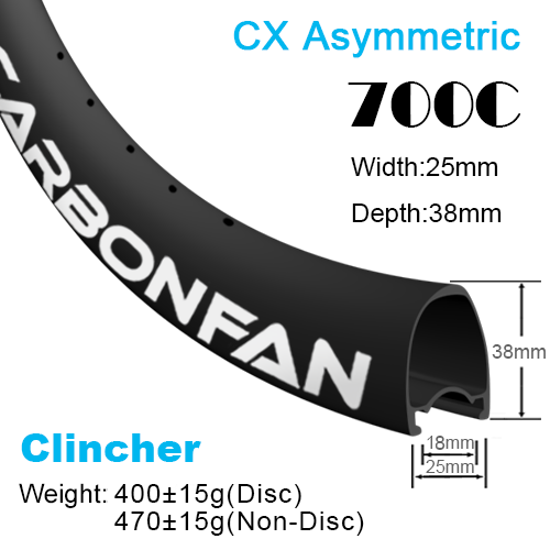 Depth:38mm Width:25mm Asymmetric Clincher 700C CX carbon road rims Tubeless Ready SG3825C