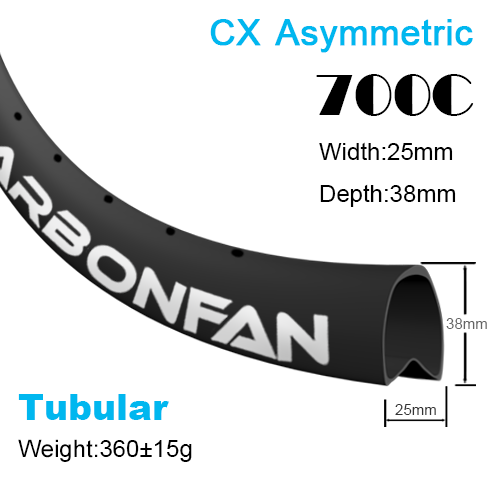 Depth:38mm Width:25mm Asymmetric Tubular 700C CX carbon road rim SG2538T