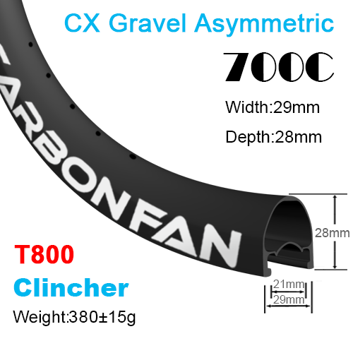 T800 Depth:28mm Width:29mm Asymmetric Clincher 700C Disc / CX / Gravel carbon road rims Tubeless Ready SG921