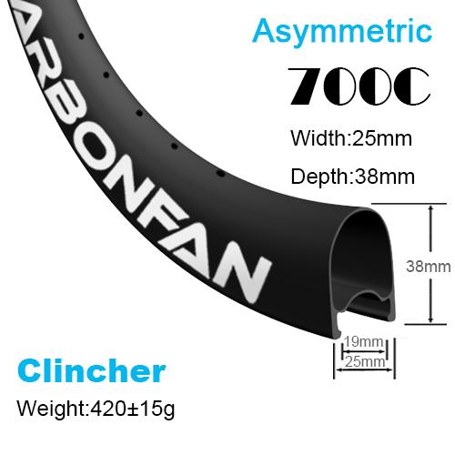 Depth:38mm Width:25mm Clincher Asymmetric tubeless Ready 700C CX carbon road rims