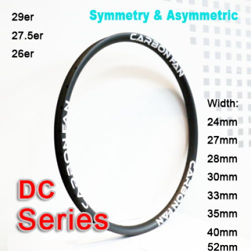 Symmetric & Asymmetric Carbon Mountain Bike Rim DC series ( Width: 24mm, 27mm, 28mm, 30mm, 33mm, 35mm, 36mm, 40mm )