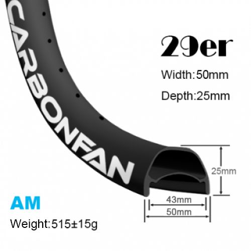 Width:50mm Depth:25mm 29er carbon mountain bike rim Hookless Tubeless Ready