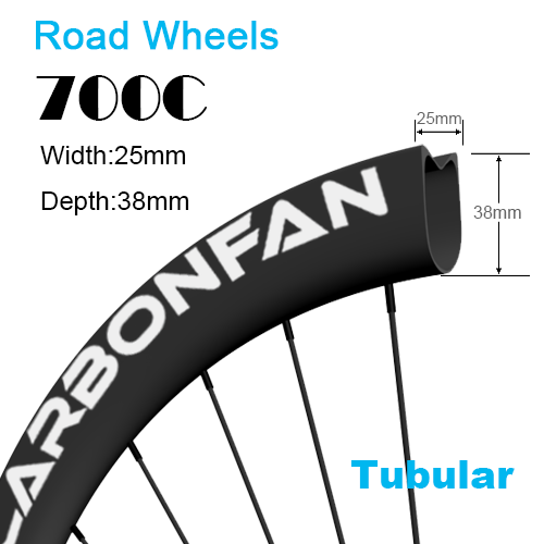 Depth:38mm Width:25mm Tubular 700C tubeless Ready carbon road wheels