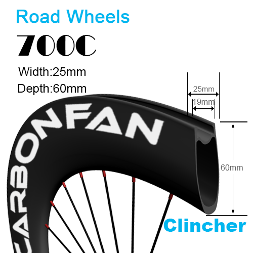 Depth:60mm Width:25mm Clincher 700C tubeless Ready carbon road wheels