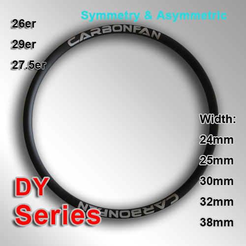 Carbonfan Tubeless Symmetry & Asymmetric Carbon Mountain Bike Rim DY series ( Width: 24mm, 24.6mm,  25mm, 30mm, 32mm, 38mm )