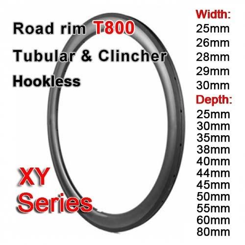 T800 700C carbon road rim XY series ( Depth: 25mm, 28mm, 35mm, 38mm, 40mm, 44mm, 45mm, 50mm, 55mm, 60mm, 80mm)