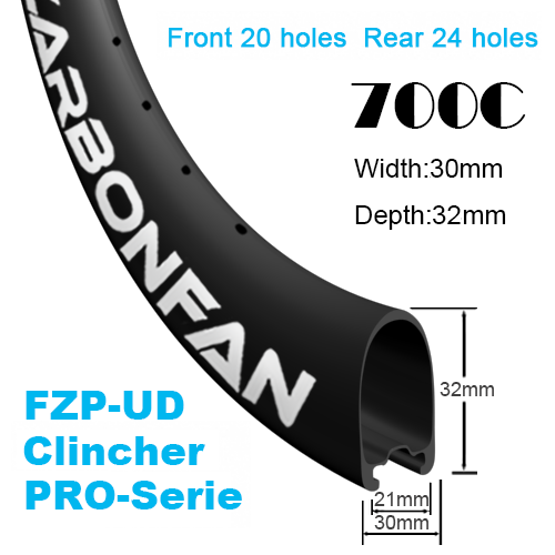 Width:30mm Depth:32mm Clincher FZP-UD 700C Road Rim / Wheels Tubeless Ready PRO-Serie Front 20H & Rear 24H