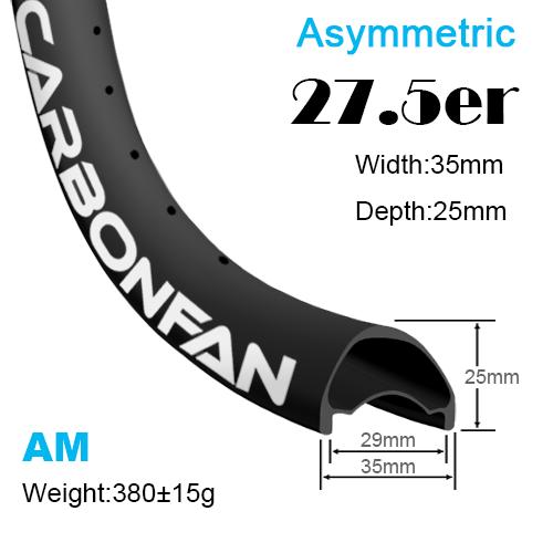 Width:35mm Depth:25mm 27.5er Asymmetric carbon mountain bike rims 650B All mountain