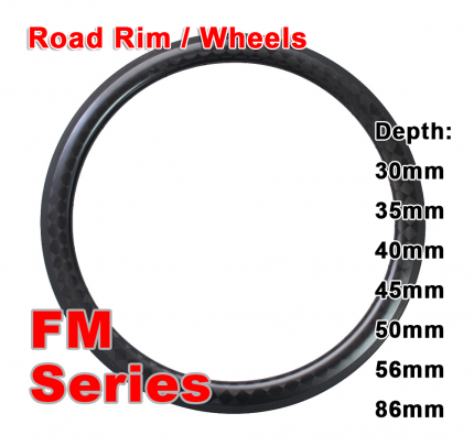 700C Carbon Clincher & Tubular Road Rim FM Series ( Depth: 30mm, 35mm, 40mm, 45mm, 50mm, 56mm, 86mm )