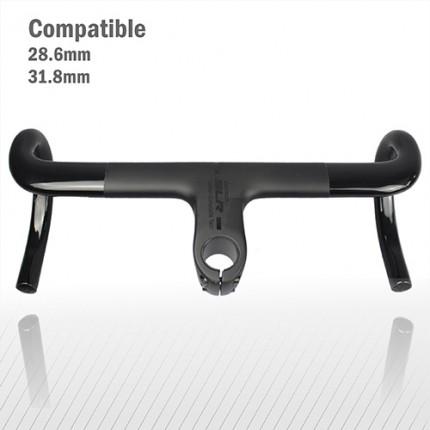 Carbonfan 2020 Compact Design Road Bike Handlebar 31.8mm and 28.6mm Steerer compatible Matte Black Bent carbon fiber handle Bar Drop Bar
