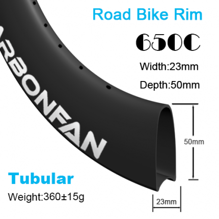 Depth:50mm Width:23mm Tubular 650C carbon road rim
