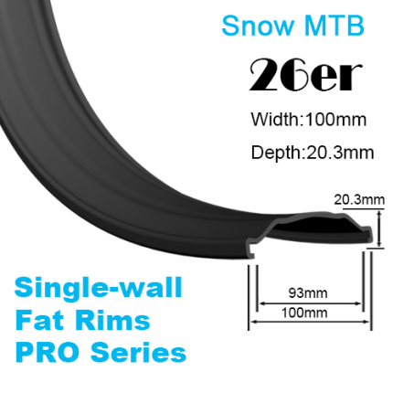 Single-wall Pro-Series Fat Bike Carbon Rim Snow Bike Rim 26er (width:100mm,depth:20.3mm)