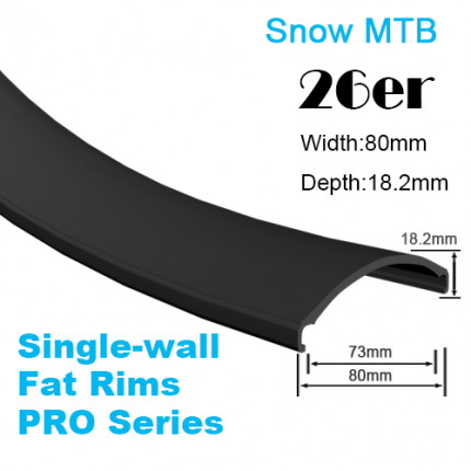 Single-wall Pro-Series Fat Bike Carbon Rim Snow Bike Rim 26er (width:80mm,depth:18.2mm)