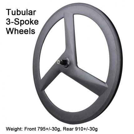 Carbonfan Road Bike Tubular Carbon 3 Spoke Wheels