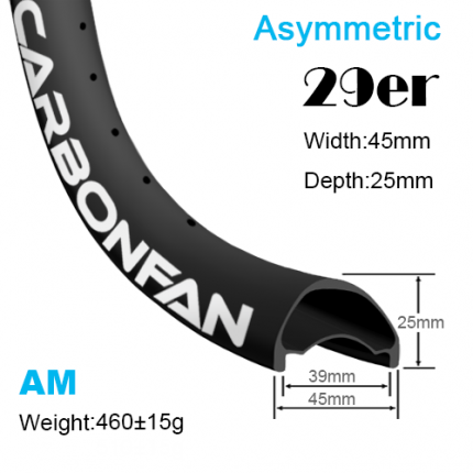 Width:45mm Depth:25mm 29er Asymmetric carbon mountain bike rims All mountain