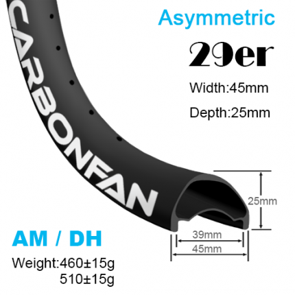 Width:45mm Depth:25mm 29er Asymmetric carbon MTB rims AM / DH