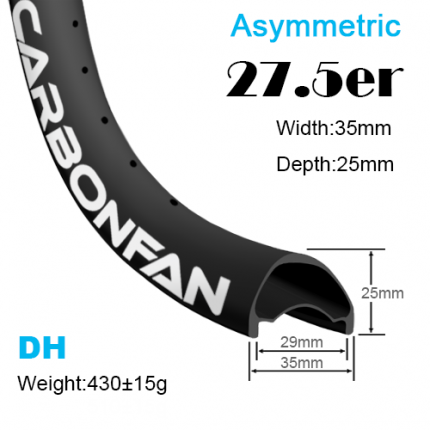 Width:35mm Depth:25mm 27.5er Asymmetric carbon mountain bike rims 650B Downhill