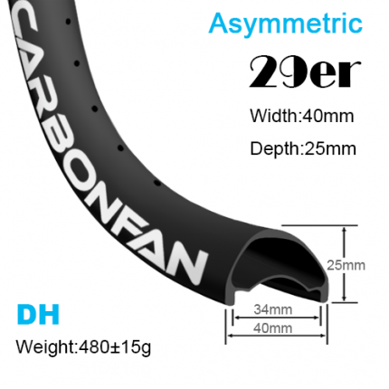 Width:40mm Depth:25mm 29er Asymmetric carbon mountain bike rims Downhill