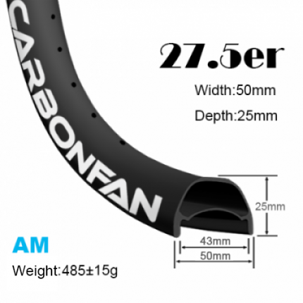 Width:50mm Depth:25mm 27.5er carbon mountain bike rim 650B Hookless Tubeless Ready