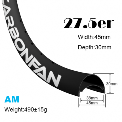 Width:45mm Depth:30mm 27.5er carbon mountain bike rims 650B classic All mountain