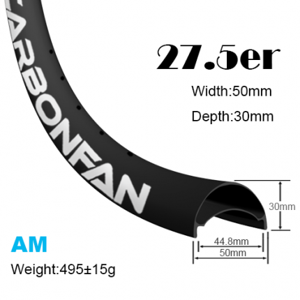 Width:50mm Depth:30mm 27.5er hookless carbon mountain bike rims 650B