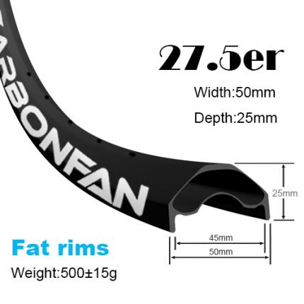 Fat carbon rims YH mountain bike rims 27.5er (width:50mm,depth:25mm)