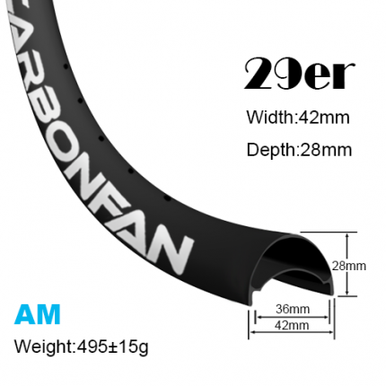 Width:42mm Depth:28mm 29er hookless carbon mountain bike rim