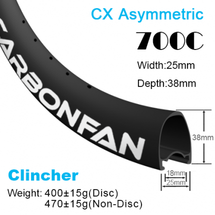 Depth:38mm Width:25mm Asymmetric Clincher 700C CX carbon road rims Tubeless Ready SG3825C