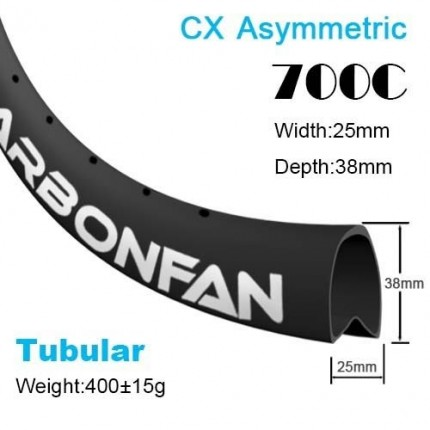 Depth:50mm Width:25mm Asymmetric Tubular 700C CX carbon road rim SG2550T