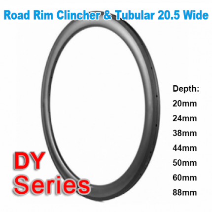 20.5mm Wide 700C carbon DY road rim series (Depth:20mm,24mm,38mm,44mm,50mm,60mm,88mm)
