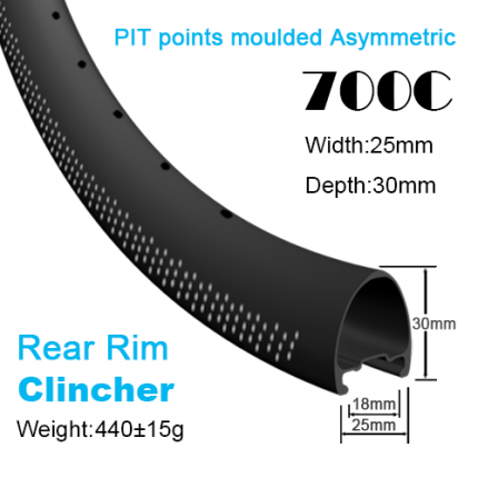 Depth:30mm Width:25mm Asymmetric Clincher 700C carbon road rims tubeless Ready