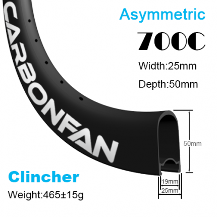 Depth:50mm Width:25mm Clincher Asymmetric tubeless Ready 700C CX carbon road rims