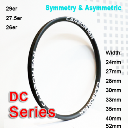 Symmetry & Asymmetric Carbon Mountain Bike Rim DC series ( Width: 24mm, 27mm, 28mm, 30mm, 33mm, 35mm, 40mm )