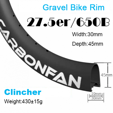 Depth:45mm Width:30mm Clincher 650B Disc / CX / Gravel carbon road rims Tubeless Ready