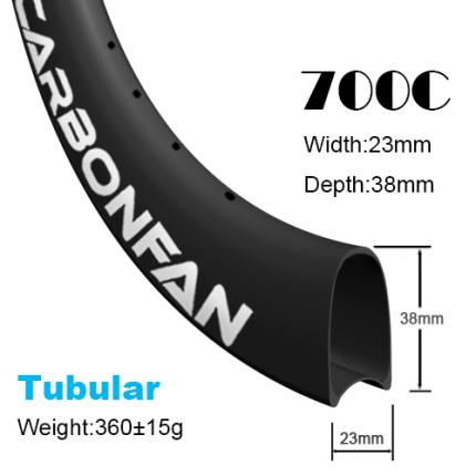 Depth:38mm Width:23mm Tubular 700C carbon road rim