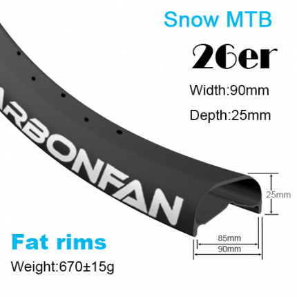 Fat bike carbon rims YX snow bike rims 26er (width:90mm,depth:25mm)
