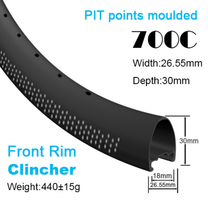 Depth:30mm Width:26.55mm Clincher 700C carbon road rims tubeless Ready