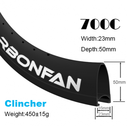 Depth:50mm Width:23mm Clincher 700C carbon road rims Classic rims