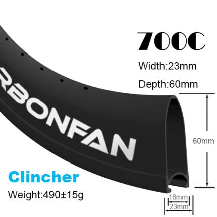 Depth:60mm Width:23mm Clincher 700C carbon road rims Classic rims