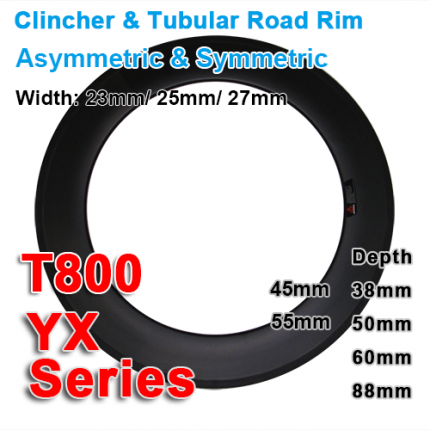 T700 & T800 Carbonfan 700C carbon  road rims YX series (Depth: 38mm,45mm,50mm,55mm,60mm,88mm)