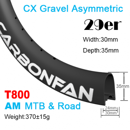 T800 Width:30mm Depth:35mm 29er Hookless Asymmetric CX Gravel carbon mountain bike rim
