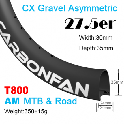 T800 Width:30mm Depth:35mm 27.5er (650B) Hookless Asymmetric CX Gravel carbon mountain bike rim