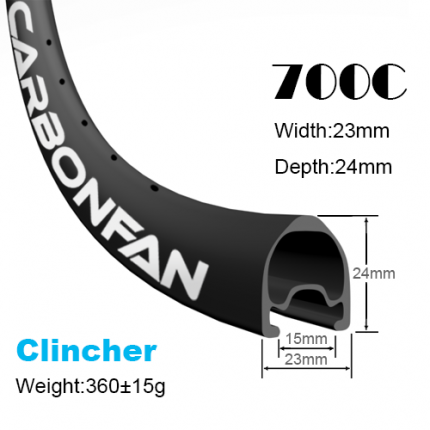 Depth:24mm Width:23mm Clincher 700C tubeless Ready carbon road rims